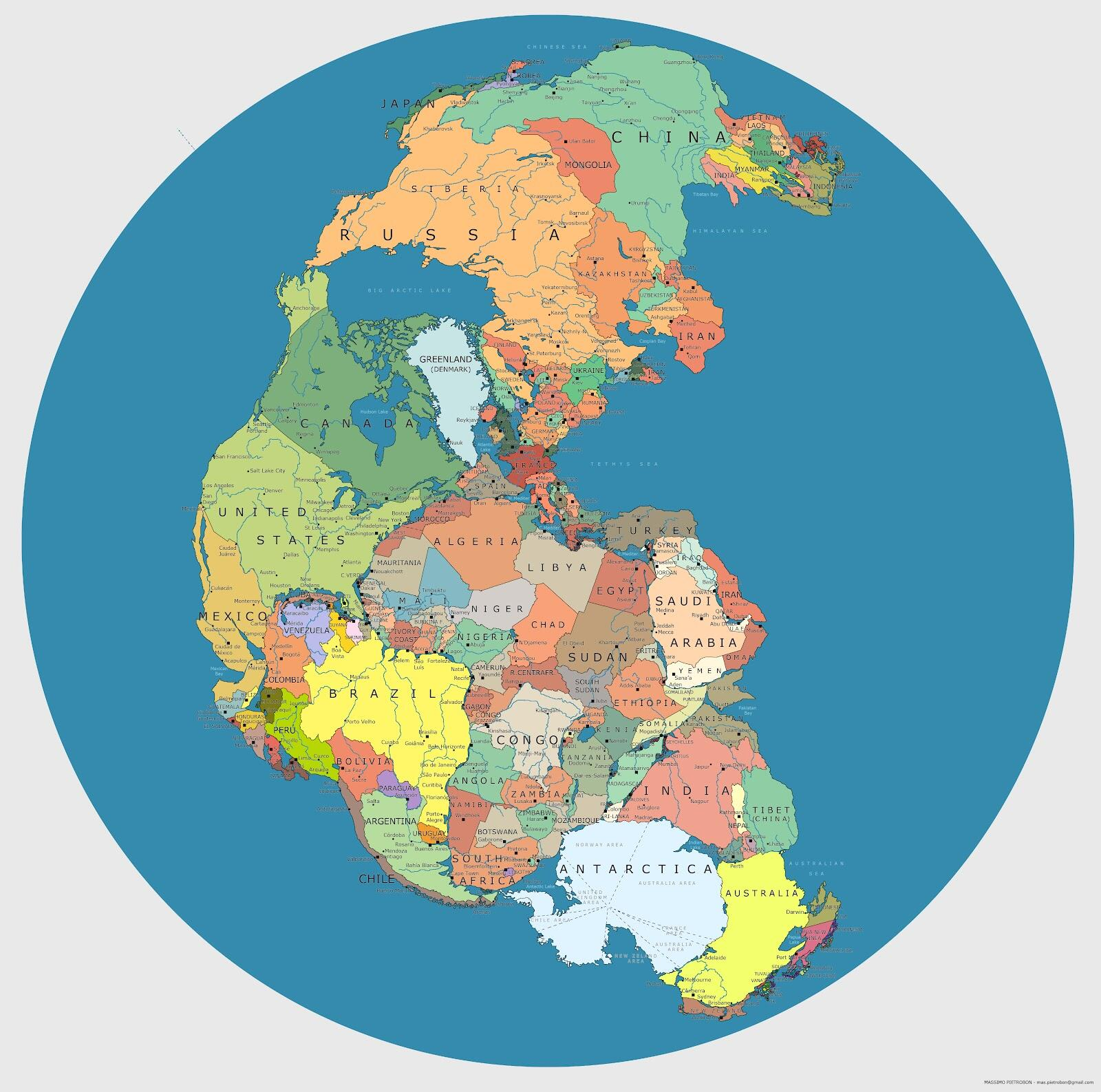 Map of Pangaea with current international borders http://t.co/H5SB5xpG9k