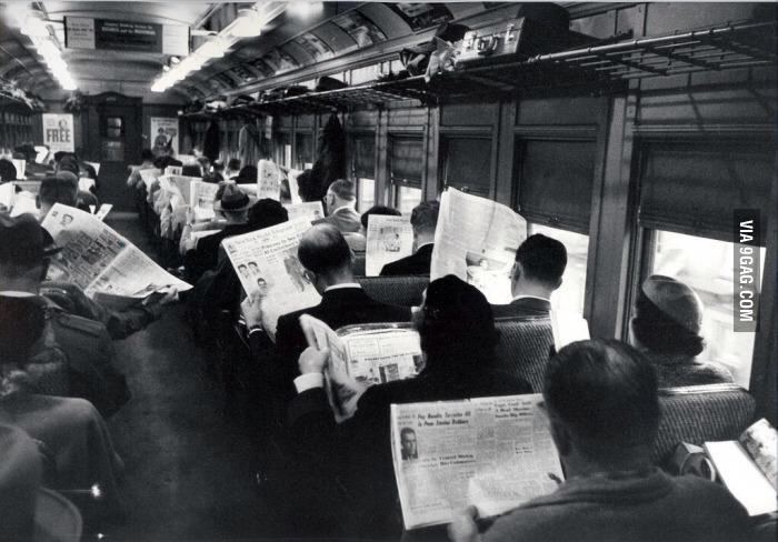 @9GAG: All this technology is making us antisocial. newspaper?