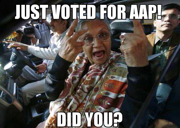 Sheila Dixit looks so excited! #Delhi #elections #AAPSweepingDelhi - meme by yours truly.