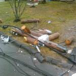 Crews working to restore scattered outage this morning. Heres an example of wind damage in Sackville: http://t.co/DYyD4pLdhq