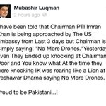 "Imran Khan #PTI is being approached by US Embassy but #IK is Simply Saying ""NO MORE DRONES"" @iSupportPTI @naveedpti http://t.co/CThxSDy93f"