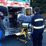 Passenger from stricken BART train being loaded into ambulance at Rockridge. From @hollyquan http://t.co/EH11kLyzPD