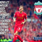 RT @LFC: Photo: #LFCs confirmed starting XI v Norwich http://t.co/8mWjId39FL