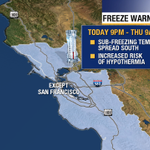 Freeze Warning - Tonights big #BayArea weather story. Widespread frost except for San Francisco. #ColdSnap http://t.co/W57cF1dsCj