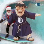 At Seaport Village, Santa surfs & rides a jetpack? So cool! Hopefully the Friar asked for more than Seth Smith. http://t.co/B7Rm7fxtGN