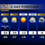 Temperatures are low.  Wind chills are high.   @CTVCalgary 5 day forecast.   #yyc #Calgary http://t.co/ldCpQrriJs