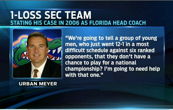 RT @FOXSports1: Urban Meyer's take in 2006 on taking a 1-loss SEC team in the national championship, discussed on @FFD today. http://t.co/S…