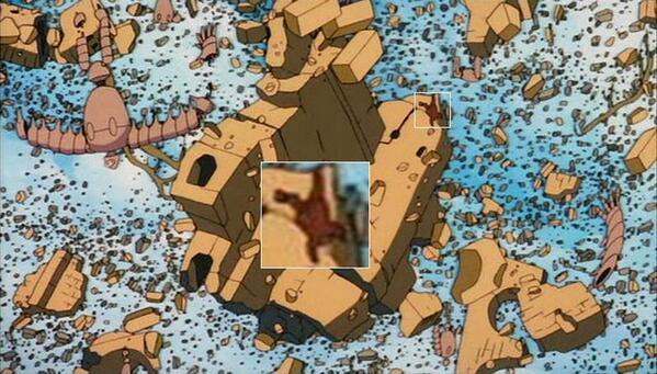 ラピュタのムスカ落下シーン天空の城のムスカはバルスによってラピュタが崩壊する時ちゃんと瓦礫と一緒に落ちていくシーンが描写