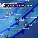 Update! Cold front moving thru #Houston even earlier: ~10AM now.Temps falling into the mid 40s Thursday. http://t.co/MMJWGwwUza