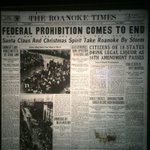 #ThrowbackThursday: @roanoketimes front page 80 years ago tomorrow, when Prohibition came to an end #Rke #TBT http://t.co/hWpiCcSrMf