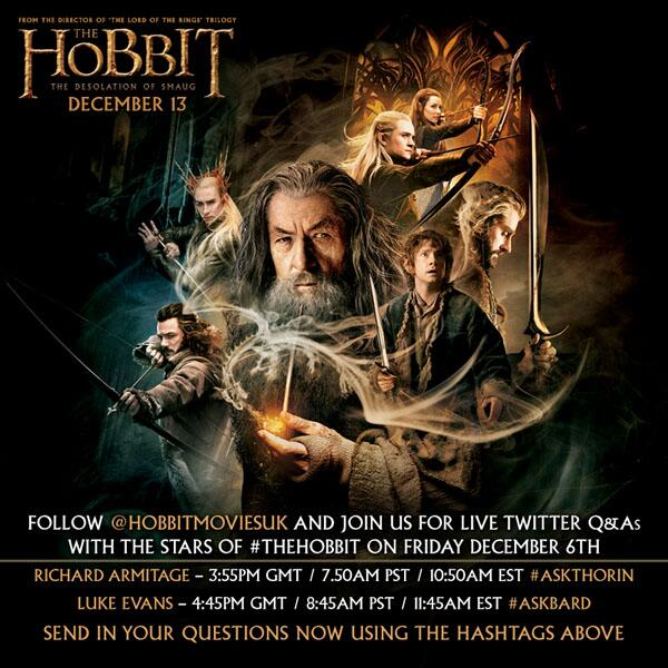 RT @HobbitMoviesUK: Tomorrow: live Twitter Q&As with Richard Armitage & @TheRealLukevans! Tweet your questions now #AskThorin & #AskBard http://t.co/5WwtIdKwr4