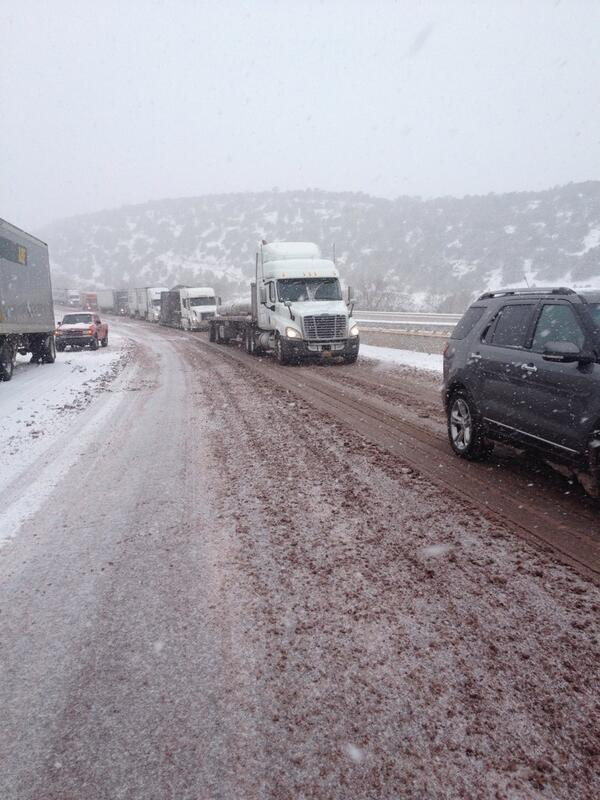 Kim Tobin (@kimtobinkob): Lots of slide off's and slow moving on I-40 E. Down to one lane. #nmwx #NMtraffic http://t.co/YVFhCUFNJt