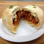 Introducing todays feature Stuffed Bun:Roasted Yam and Black Eyed Pea Chili Stuffed Bun. Spicy, vegan and delicious! http://t.co/iLoWTrxeHQ