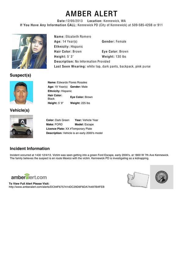 #AMBERAlert 14-year-old Elizabeth Romero from Kennewick, Wash. RETWEET http://t.co/kDcarA2BU0 http://t.co/bWzF4Nv3Mu