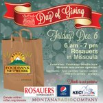 Hope to see you tomorrow at Rosauers in Missoula for our #DayOfGiving 6 am - 7 pm, benefits Missoula agencies @KECI13 http://t.co/8AJRPSd1BW