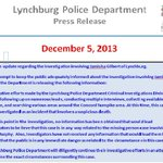#Lynchburg Police say they DONT believe #JamishaGilberts death is related to missing teen #AlexisMurphy. Release: http://t.co/b3w3ufdM1T