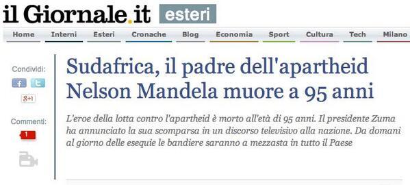 E il titolista de @ilgiornale ribalta la storia #NelsonMandela http://t.co/1jWy2EB6Py