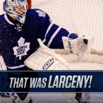 """That was larceny!"" - Joe Bowen. Jonathan Bernier makes 48 saves in #Leafs win #SEAofBLUE http://t.co/LVKP1dAQRy"