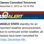 RT @InvolvedatASU: Enjoy the #snowday at #angelostate | Classes are cancelled | Stay Safe! http://t.co/TwaH3qetEb