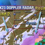 "Doppler radar: Round 1 moving E out of OK, Round 2 increasing in SW OK, moving NE. Tulsa will see 3""-6"" snow #okwx http://t.co/O0v1YMTIM0"
