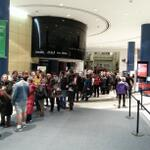 446am CBC Toronto Atrium. @metromorning Big lines to get in! #loveworkinghere http://t.co/JE0NdZ9Xjr