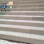 Chalk messages and a small memorial cover the steps of Nelson Mandela Park PS in #toronto #CTVMandela http://t.co/qN7s7a9JvD