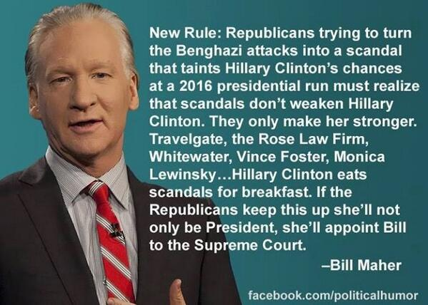 """RT @pari_passu: """"New Rule: ...scandals don't weaken Hillary Clinton. They only make her stronger."""" #p2 #maddow via @billmaher http://t.co/5B2yNVzXA0"""