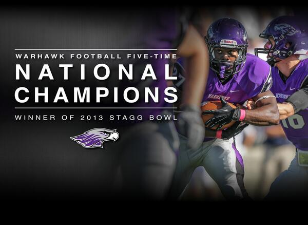 UW-Whitewater Warhawks win the Stagg Bowl, 52-14 over Mt. Union. #uww http://t.co/p3HUrY2Lj6