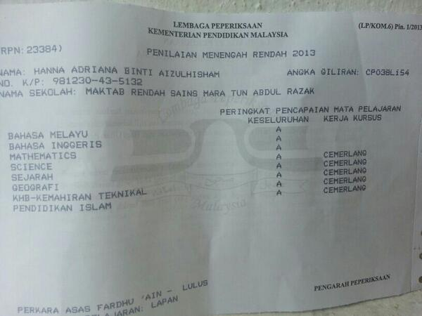 Ayah send this to us. Congrats @HannaAdrianaa So proud of you! ;) http://t.co/GiJDbhpNWx