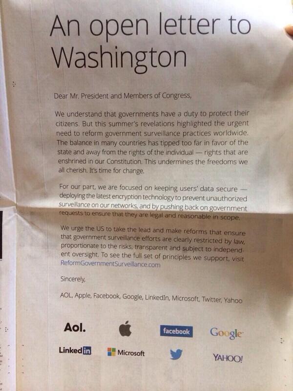 Apple, Google, and Facebook,Twitter kolkola washington'a acik mektup tazarak @nytimes ilan vermis. Bu ilginc. http://t.co/xy4CU8JXAy