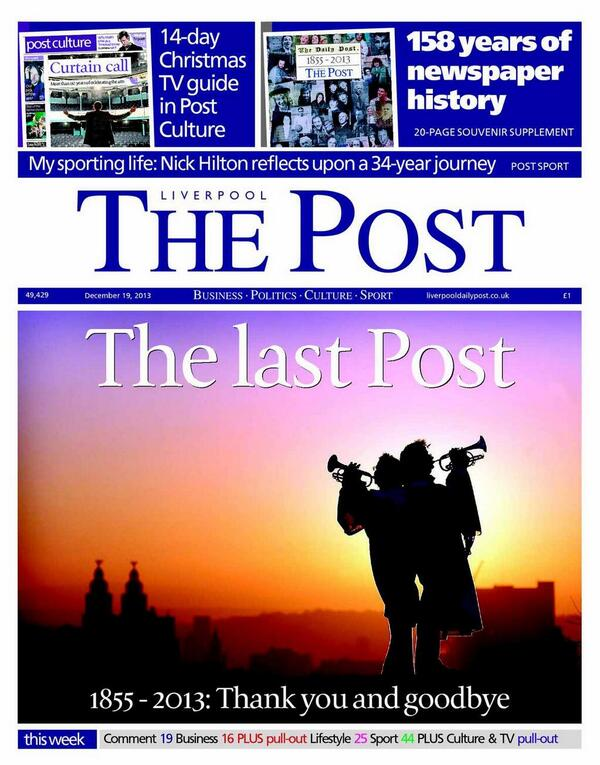 The last ever Liverpool Post is in the shops now: we're very proud of it & hope you enjoy. £1 for a slice of history. http://t.co/vo0K3kbT1d