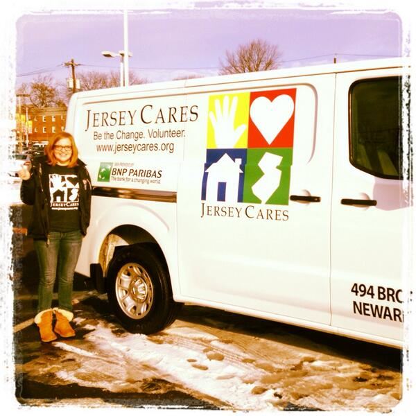 Jersey Cares (@JerseyCares): So excited about our new van, Miles! Thanks so much to @BNPParibas_com for thee generous donation! #grateful http://t.co/GzOazKjQkj