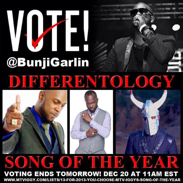Click the link & VOTE @BUNJIGARLIN   #Differentology for #MTVIggy's #SongOfTheYear http://t.co/Kp93XtK0R3 http://t.co/iHzRvK2E6V