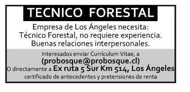 #LosAngeles Se necesita Técnico forestal Enviar CV a: probosque@probosque.cl cc @LosAngelesCL http://t.co/eTRxZJ12Dm
