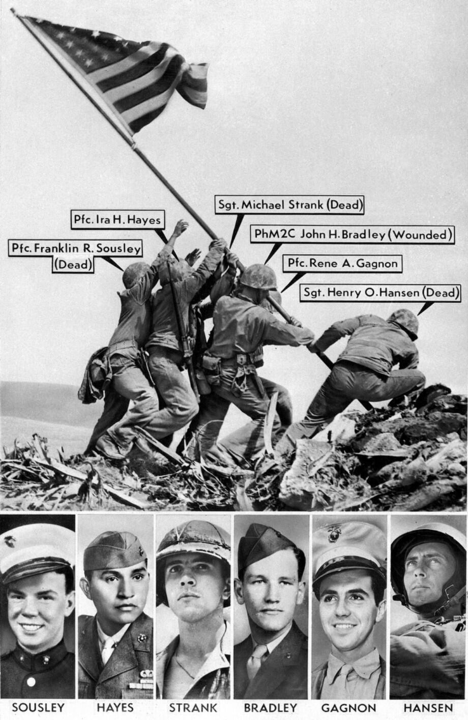 The men who raised the flag on Iwo Jima in Joe Rosenthal's iconic photo from 1945 http://t.co/WBm53JOGRs
