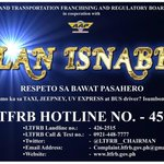 LTFRB launches Oplan Isnabero, with a 24/7 hotline number: (02) 459-2129. http://t.co/RQmzWTSlOB |via @DOTCPhilippines