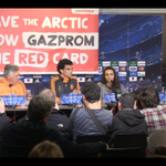 Surprise! #Gazprom get shown the red card before Champions League w/ FC Copenhagen & Real Madrid. #SaveTheArctic http://t.co/tE9RhJluq0