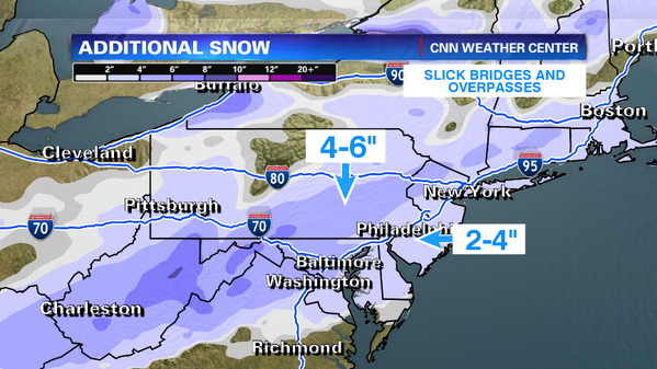 Another round of snow coming.  DC to NYC along I-95 3-5 inches.  A little more to the west of the big cities http://t.co/LZG4nRHim0