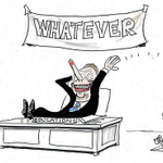 Christopher Pyne - what policies? Cartoon by the talented @moir_alan #Gonski #auspol http://t.co/bpixdt3BF8