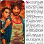 RT @Shahid_Loverz: RT @shahidkapoorFC : PRINT MEDIA - @shahidkapoor - @sonakshisinha bring in a Rs 30 Crore weekend