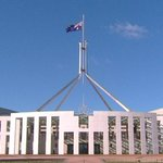 The Australian flag at Parliament House is flying at half-mast today to honour the passing of Nelson Mandela http://t.co/a2yp8TeLIc