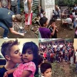 #MaramingSalamatBieber justin giving his own shoes off his feet. My idol is better than yours???? #prayforphilippines http://t.co/V6BJNUlehO
