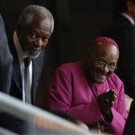 #MandelaMemorial:  Desmond Tutu with Kofi Annan at FNB Stadium TRACK updates here: http://t.co/I2u0nBbylv