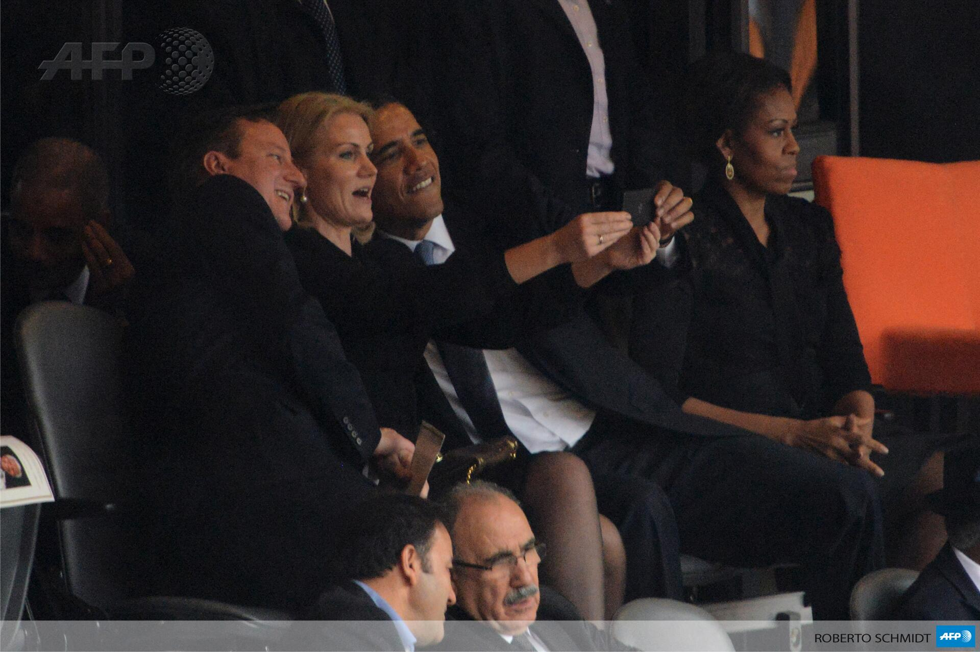 Selfie for British PM David Cameron, Danish PM Helle Thorning Schmidt & Barack Obama #MandelaMemorial It's playtime!