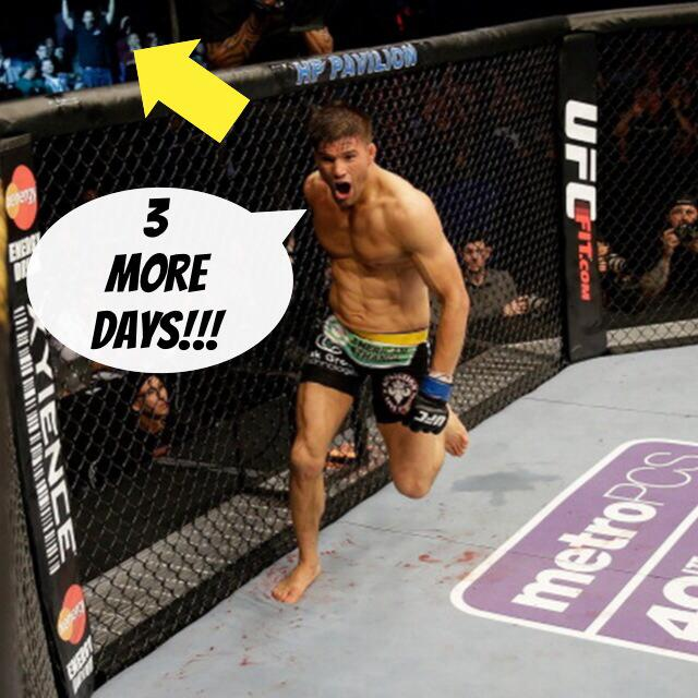 The  FC Q&A w/ @THEREALPUNK is just 3 days away! Who's as excited as the fan in this pic? Or Josh? #fightweek http://t.co/3Fnx32v67e