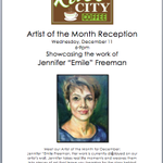 "Join us Wed for our rescheduled Artist of the Month Reception 6-9pm.Stoked for you to meet Jennifer ""Emile"" Freeman! http://t.co/zy0Kb9vDHg"