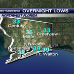 Here are some of the overnight lows for northwest Florida. The next rain chance, Friday night for the @weartv area. http://t.co/TbTixLmbJ3
