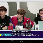 "[OVEN RADIO] chanyeol: ""i like kai, ill do a rap that praise him"" and Kris grab Chanyeols hands, sehuns laugh http://t.co/ZR97EwZU2F"