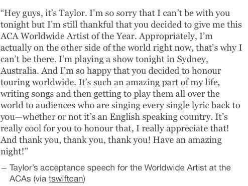 Taylor's acceptance speech for the Worldwide Artist at the ACAs http://t.co/PHww56DR91