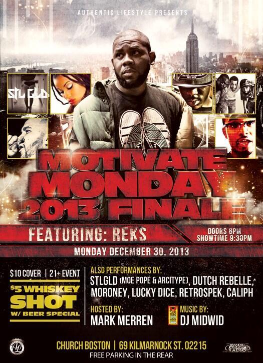 #MotivateMonday 12/30 @therealreks  @DutchReBelleFN @LuckyDice1 @MORONEY_MUSIC @retrospek1 @moepope77 @CaliphGK http://t.co/fZUCw4pm06